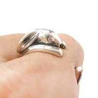 Realistic Bunny Rabbit Shaped Animal Wrap Around Ring in 925 Sterling Silver | US Sizes 4 to 8.5