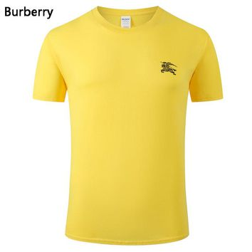 Burberry New fashion bust side war horse print couple top t-shirt Yellow