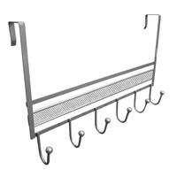 Evelots Over The Door Metal Hook Rack, 6 Hooks, Organizer Rack, Silver