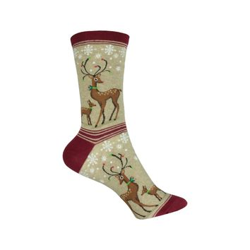 Reindeers Crew Socks in Hemp Heather