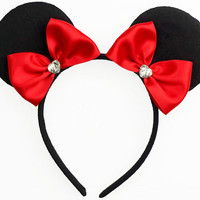 Minnie Mouse Ears Red Mouse Ears Bow Halloween Costume Red Mickey Ears Headband Red Minnie Ears Red Minnie Mouse Bow Red Minnie Mouse Outfit
