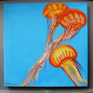 Textured Acrylic Orange Blue Jellyfish Pod Ocean Painting 10 x 10, Signed Original Wrapped Canvas