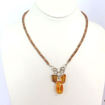Yellow Citrine Necklace with Andalusite, exotic gemstone necklace, fine jewelry