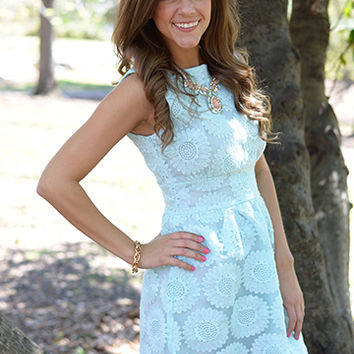 Sweet Sunflowers Dress, Light Blue