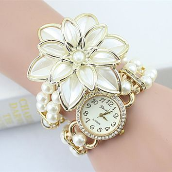 2017 Hot Sale Lady Luxury White Flower Bracelet Watches Women Fashion Pearl Quartz Wristwatches Relogio Feminino Montre Femme