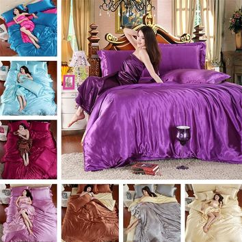 Silk Satin quilt Sheets Bed Linen Hometextile Solid Satin Duvet pillow Twin/Queen/King Size Bedsheet 3/4pcs of Bedding Coverlets