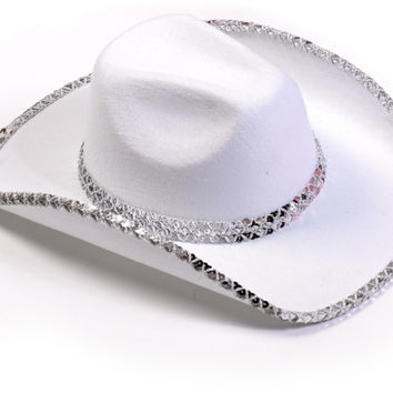 White Sequin Cowboy Hat