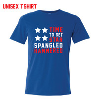 Star Spangled Hammered American Flag Shirt - 4th of July - America T-Shirt -  Drinking Shirt - Fourth of July Shirt - Red White Blue