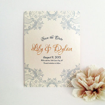 Save the Date - lace wedding card printed on luxury cream pearlescent paper - Gray and gold - glamour lace invitation