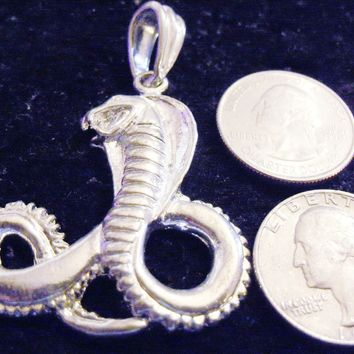 bling sterling silver plated mythical fantasy cobra snake reptile magic stonehenge gothic celtic trendy fantasy egyptian fashion hip hop charm pendant 24 inch rope chain necklace jewelry