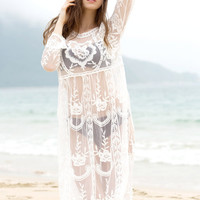 White Round Collar Sheer Cover-Up