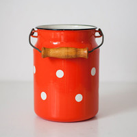 Vintage enamel milk can
