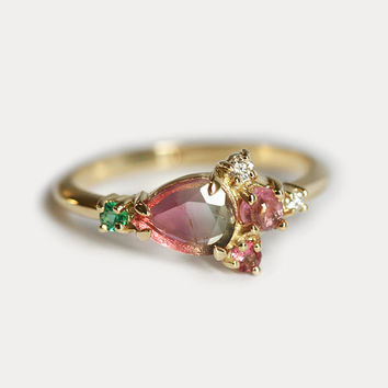 Watermelon Tourmaline Cluster Ring, Tourmaline Diamond Ring, Emerald Cluster Ring, Pink Green Cluster Ring, One of a Kind Cluster Ring