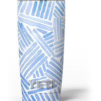 The Random Blue Watercolor Strokes Yeti Rambler Skin Kit