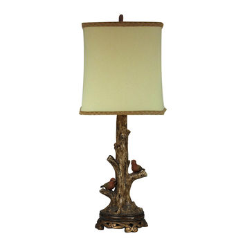 Birds On A Branch Accent Lamp With Gold Leaf Base