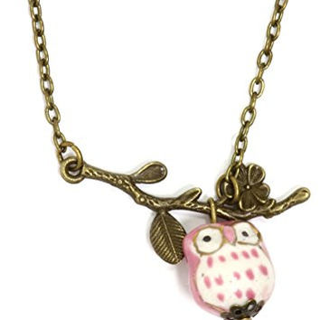 Owl and Branch Necklace Antique Gold Tone Retro Pink Charm Pendant NR33 Fashion Jewelry