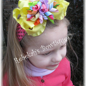 Easter Spring Lemon Yellow Easter Eggs Pastel Brights Dots Stripes Layered Hair Bow Headband Bowband or Clip Portraits