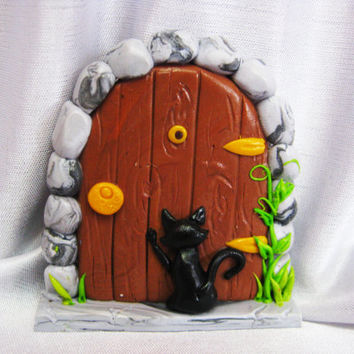 Fairy Door, Gnome door, Door for Indoor or Outdoor Use, Fairy Garden Door, Miniature Garden Door, black cat