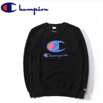 Champion logo lovers sweater plus velvet thick coat Black