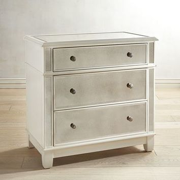 Hayworth Mirrored Antique White 3-Drawer Dresser