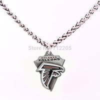 Enamel single-sided Atlanta Falcons Fans Collection 10pcs Wheat Link Chain with Large Clasp football necklace