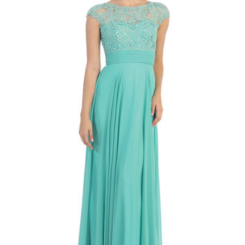 Elegant Modest Wedding Formal Gown Short Sleeve Lace Applique Chiffon Long Dress