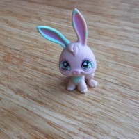 LPS #548 Peach Pink Bunny Rabbit With Mint Green Fancy Star Eyes