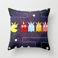 Pac Unicorn Throw Pillow by That's So Unicorny