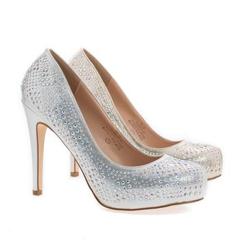 Summer30B Gold Shimmering By Blossom, Pointy Toe Rhinestone Studded Stiletto Heel Pumps