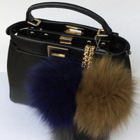 Trio brown-navy-gray Fox fur pom pom corsage Bag Charm Totem pendant