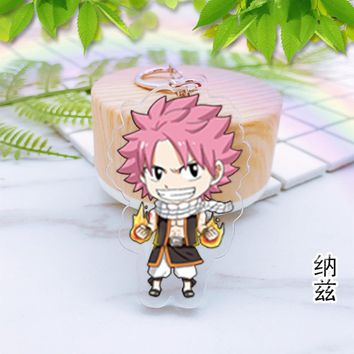 Japan anime Fairy Tail Acrylic keychain Elza knight walker Natsu Gray happy Lucy double-sided pendant Chaveiro Llaveros gifts