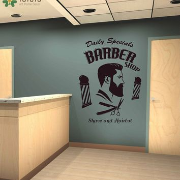 Barbershop Wall Sticker Vinyl Man Hairdresser Wall Decal Window Decor Quote Removable Fashion Hairstyle Mustache Modern DIYSY431