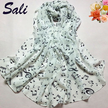 1PC Scarf Shawl Muffler Scarves Women Lady Musical Note Chiffon Neck women's scarf free shipping cachecol cape Polyester