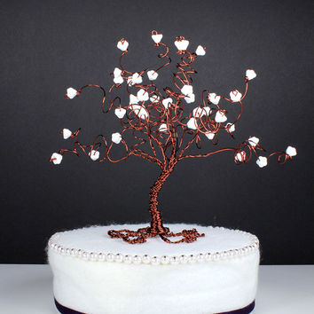 Magnolia Tree Wedding Cake Topper Wire Tree Sculpture with White Flowers