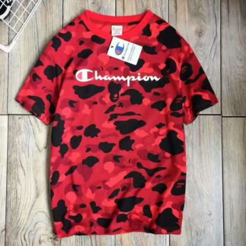 Champion print long sleeve sweater Camouflage red top  H-A-XYCL