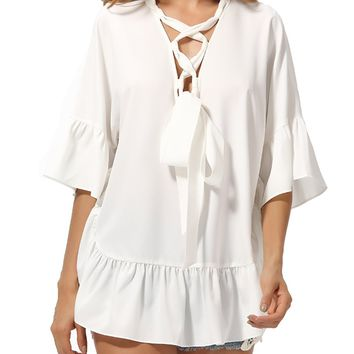Deep V-Neck Lace-Up Ruffled Hem Plain Bell Sleeve Blouse