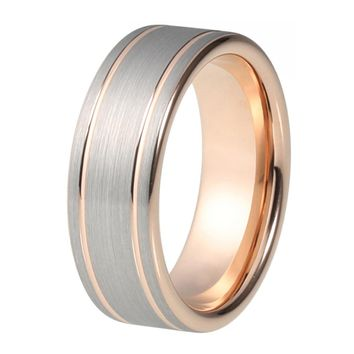 Mens Rose Gold Wedding Band Ring Brushed 8mm Tungsten Carbide Man Wedding Ring Male Engagement Anniversary Polished Edges Promise Silver Wedding Ring
