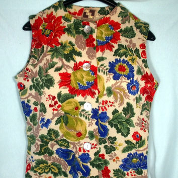 Vintage Floral Wool Sweater KIO Western Germany