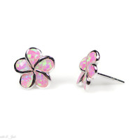 Sterling Silver Pink Created Opal Plumeria Flower Stud Earrings