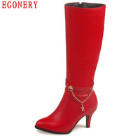 EGONERY Zipper Soft PU Faux Leather Red Thin High Heels Chain Fashion Style Womens Over Knee High Boots Lady Autumn Shoes