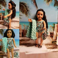 "Contemporary 18 inch doll clothes ""Just a Little Wild"" Swimsuit bathing suit towel back pack beach sandals Liberty Jane Pattern H5"