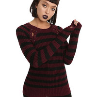 Black & Burgundy Striped Lace-Up Girls Sweater
