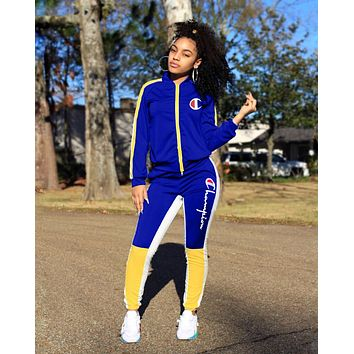 Champion Newest Women Personality Long Sleeve Jacket Coat Pants Trousers Set Two-Piece Sportswear Blue