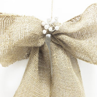 Burlap Wedding Bows Rustic Wedding Pew Bows Chair Bows Isle Bows Christmas Bows With White Pearl Accents Country Wedding Decor Set Of Two