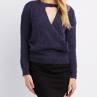 Cut-Out Surplice Pullover Sweater | Charlotte Russe