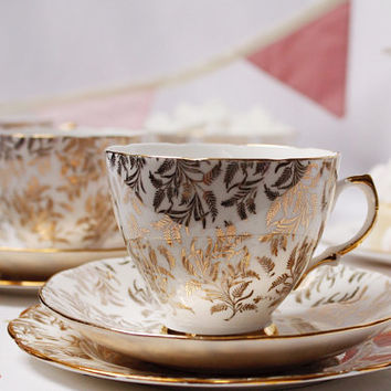 Pretty English tea cup, saucer and plate: bone china tea set with gold filigree detailing, a lovely gift for a tea lover