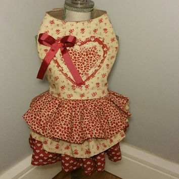 Dog dress with love heart in the middle - handmade pet clothes - dog dress - custom made clothes for dogs and cats