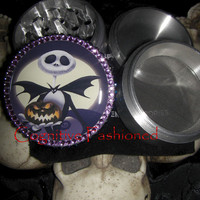 Jack Skellington Heart with Purple Rhinestones 4 Piece Grinder Herb Spice Aircraft Grade Aluminum C.N.C