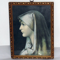 """On Sale Mid-Century Religious Art Reproduction/Jean-Jacques Henner/Saint Fabriola/Gilt Frame with Glass/8"""" X 6""""/Religious Art/"""