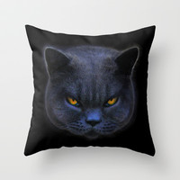 Cross Cat! Throw Pillow by Paul Stickland for StrangeStore